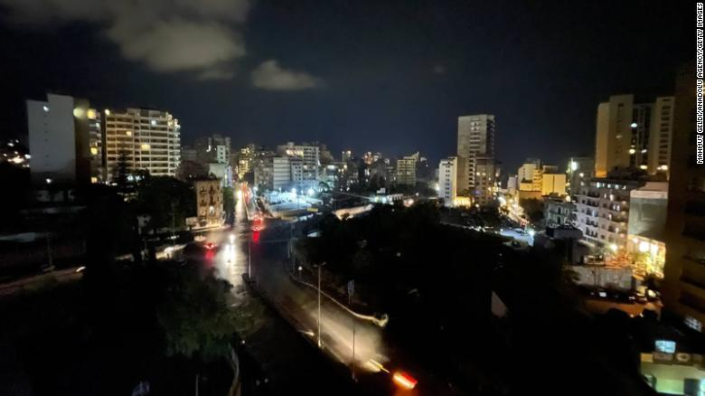 A view of the city during power cuts due to the fuel shortage and problems in the supply of fuel in Beirut, Lebanon on October 09, 2021.
