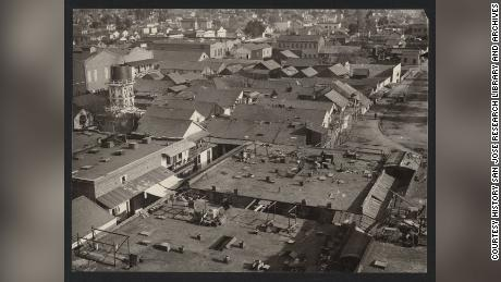 A birds-eye view of San Jose's Chinatown in 1887 before it was destroyed by fire.
