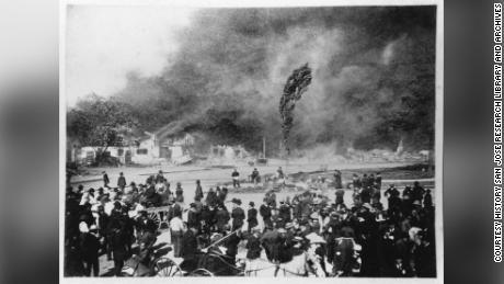 An arson fire destroys San Jose's Chinatown in 1887.
