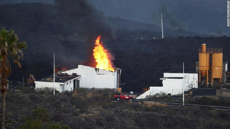 A cement factory in Los Llanos was set ablaze by the lava.