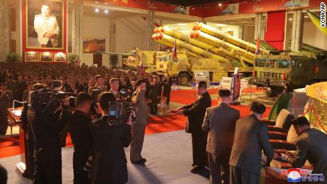North Korean leader Kim Jong Un visits an exhibition of weapons systems in Pyongyang on October 11.