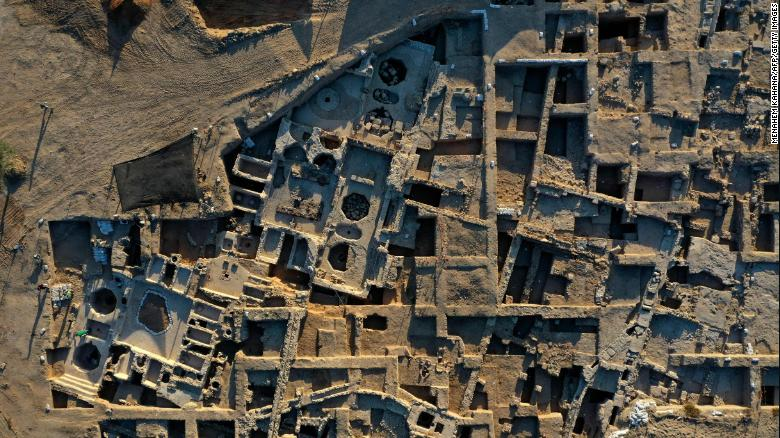 This aerial photo shows the Tel Yavne excavation site, where a massive wine production facility was discovered.