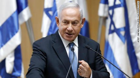 Former Israeli Prime minister  Benjamin Netanyahu speaking in Jerusalem on Monday.