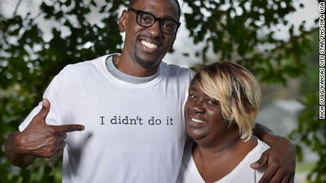 Lamonte McIntyre, here with his mother, Rose, was wrongfully convicted of committing a double murder. He and his mother are suing multiple officers in connection with  his case. (Photo by Rich Sugg/Kansas City Star/TNS/Sipa USA)