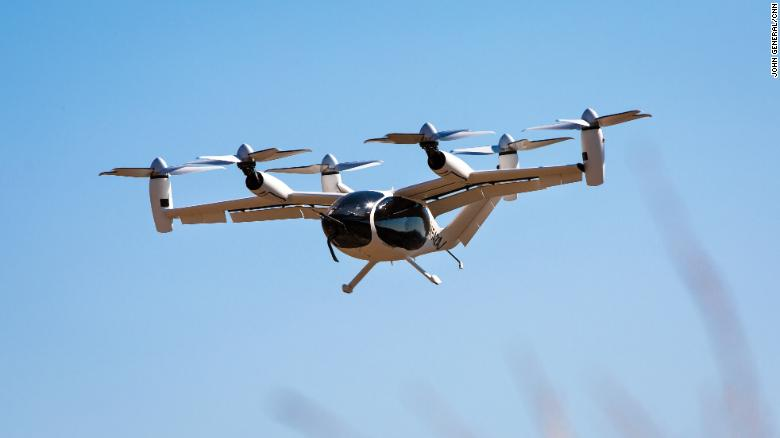 Joby says its eVTOL aircraft can fly up to 150 miles in a single charge. (John General/CNN)