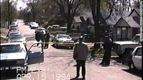 Crime scene photo from the  1994 slayings of Donald Ewing and Doniel Quinn who Lamonte McIntyre was wrongly convicted of killing.