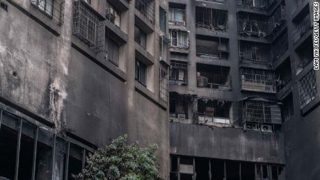 The exterior walls of an apartment building were burned after a fire on October 14, in Kaohsiung, Taiwan.