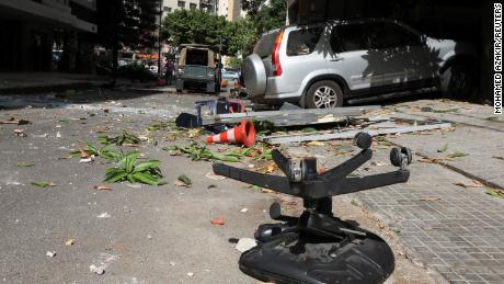 Shattered glass and debris on Beirut's streets on Thursday.