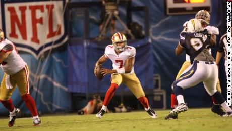 Kaepernick scrambles during the game against the San Diego Chargers in 2011.