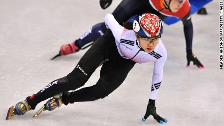 Shim leads the women's 1,000m short track speed skating quarterfinal during the 2018 Winter Olympics.