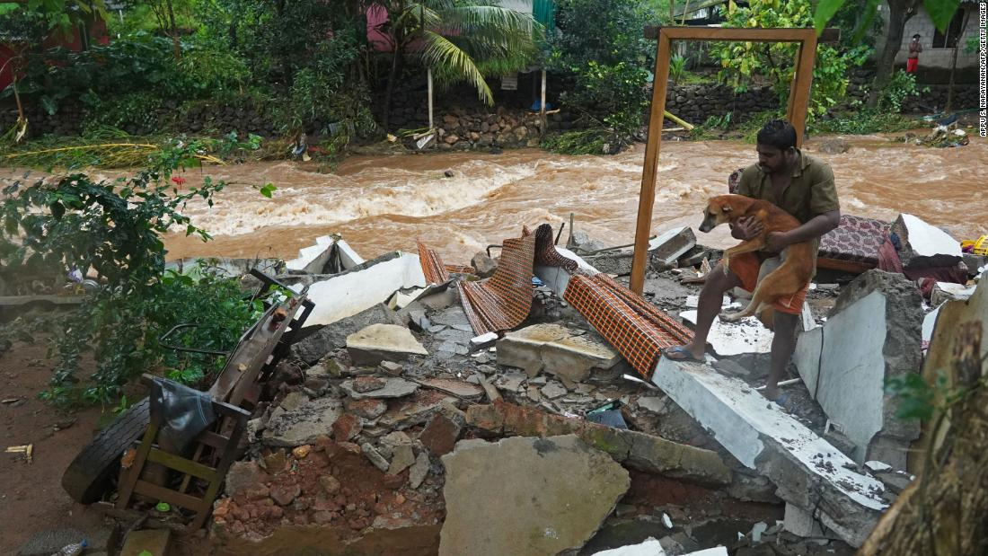At least 22 people killed after torrential rain in India's Kerala state triggers landslides and floods