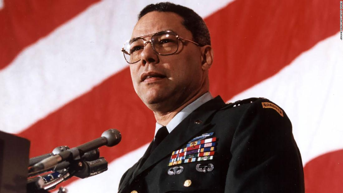 US Chairman of the Joint Chief of Staff General Colin Powell addresses the Veterans of Foreign Wars 04 March 1991, Washington,DC. In his speech, Powell said the United States will demand that Iraq account immediately and fully for all US soldiers missing in action or held prisoner. AFP PHOTO/Jerome DELAY (Photo credit should read JEROME DELAY/AFP via Getty Images)