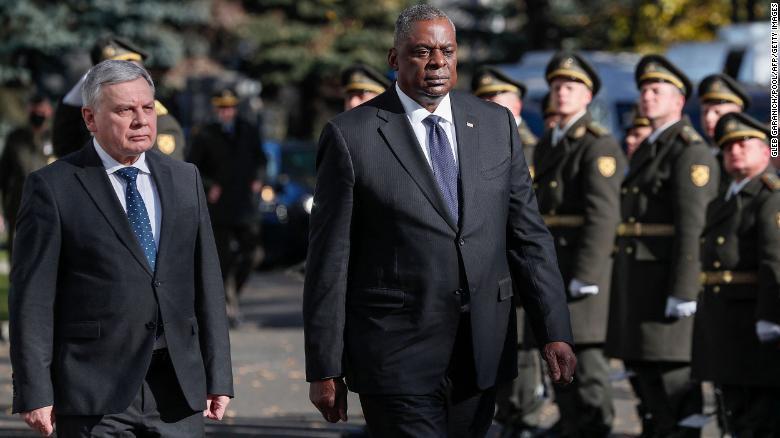 In Ukraine, Defense Secretary Austin calls on Russia to stop 'persistent cyberattacks'