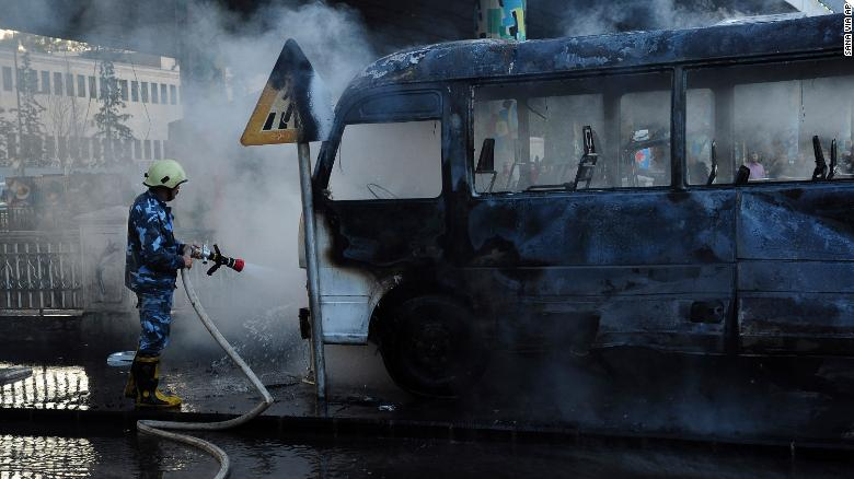 Bomb attack on Syrian military bus in Damascus kills 14