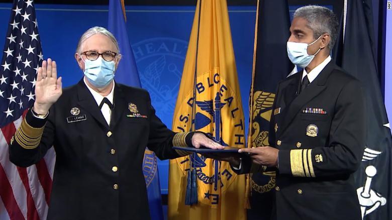 HHS' Dr. Rachel Levine sworn in as US' first openly transgender four-star officer