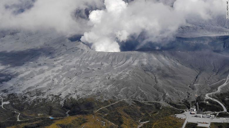 Japan's Mount Aso volcano spews plumes of ash, people warned away