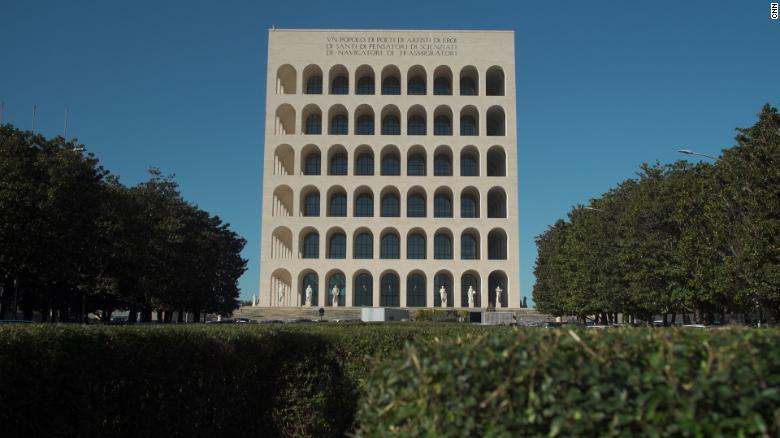 The Mussolini-commissioned building Palazzo della Civiltà Italiana is the centerpiece of Mussolini's Esposizione Universale Roma neighborhood and remains a symbol of the country's fascist era.