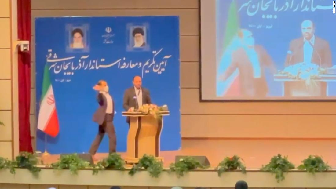 Iranian governor slapped in the face during public speech