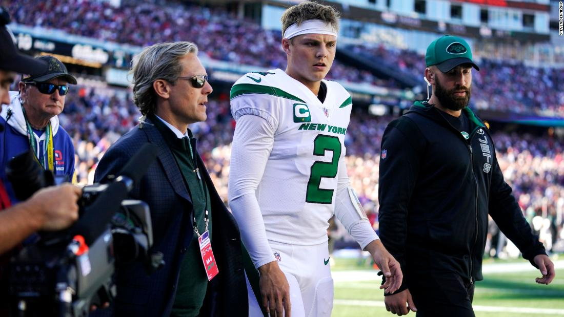 Jets quarterback Zach Wilson ruled out for the rest of Patriots game