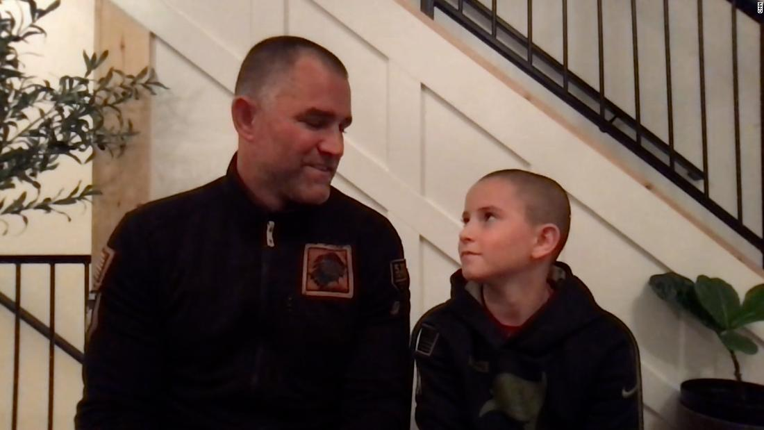 American footballer gave hat to 9-year-old cancer survivor. Hear from the boy